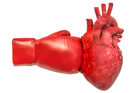 Pain in heart, heart disease concept. Human heart with boxing glove. 3D rendering isolated on white background