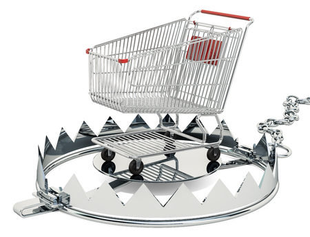 Bear trap with shopping cart inside, 3D rendering isolated on white background