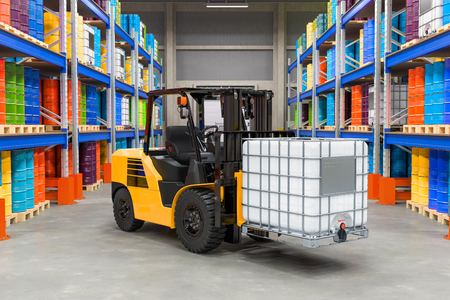 Chemical storehouse with intermediate bulk container on the forklift truck and pallet racks with chemical tanks, 3D rendering