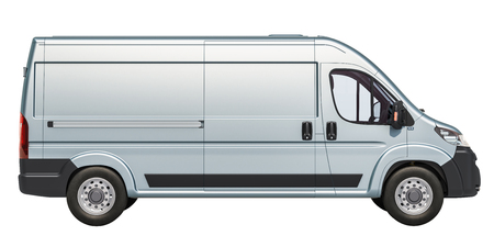 Commercial delivery van, side view. 3D rendering isolated on white background
