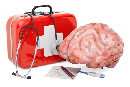 First Medical Aid and treatment of brain concept, 3D rendering isolated on white background 스톡 콘텐츠