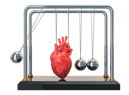 Heart disease concept. Newtons cradle with heart. 3D rendering isolated on white background