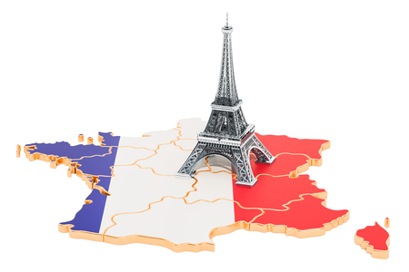 Map of France with Eiffel Tower, 3D rendering isolated on white background