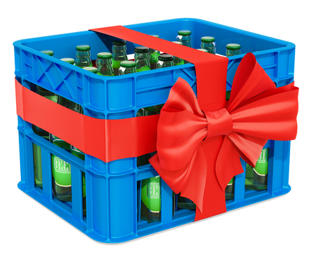 Plastic crate full beer bottles with red bow and ribbon, gift concept. 3D rendering isolated on white background Stock Photo