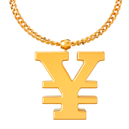 Gold yen or yuan symbol on golden chain, 3D rendering isolated on white background