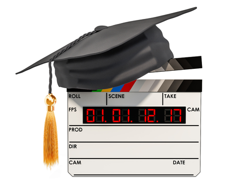 Movie clapperboard with graduation cap. Education in film school concept, 3D rendering isolated on white background
