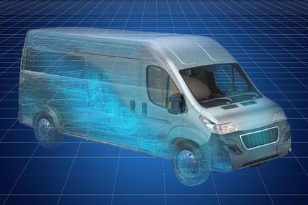 Visualization 3d cad model of delivery van, blueprint. 3D rendering
