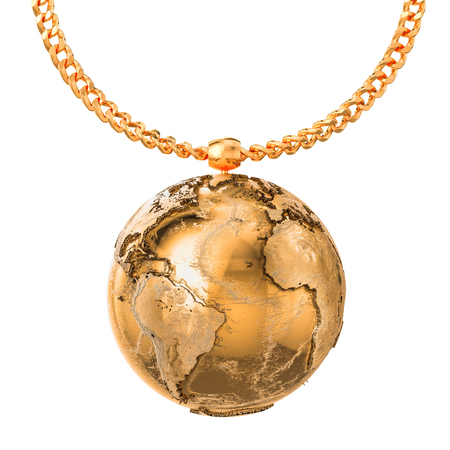 Gold Earth Globe on golden chain, 3D rendering