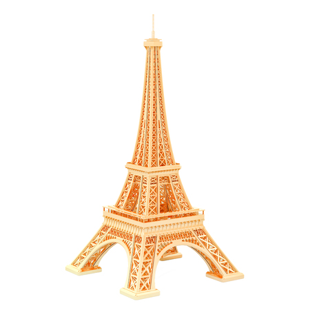 Golden Eiffel Tower, 3D rendering isolated on white background