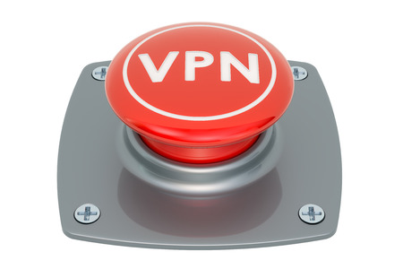 VPN push button, 3D rendering isolated on white background Stock Photo