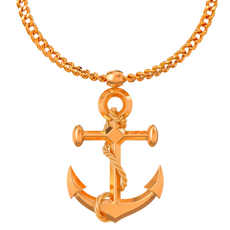 Gold anchor on golden chain, 3D rendering isolated on white background 스톡 콘텐츠