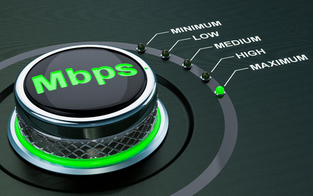 Mbps knob, max level of internet speed. 3D rendering Stock Photo
