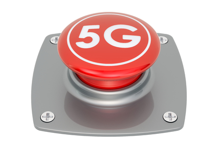 5G push button, 3D rendering isolated on white background