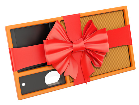 Air filter for auto wrapped ribbon and bow, gift concept. 3D rendering isolated on white background Stock Photo
