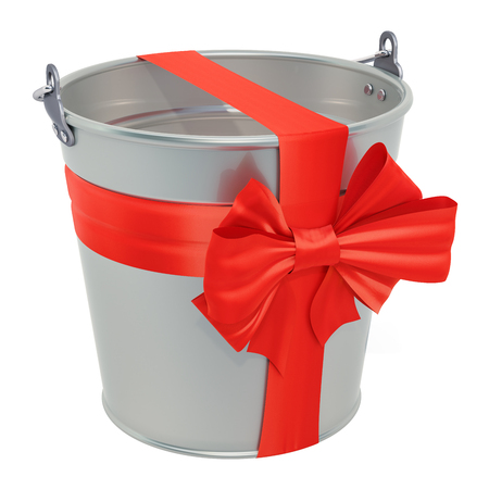 Gift concept. Bucket with bow and ribbon, 3D rendering isolated on white background Reklamní fotografie