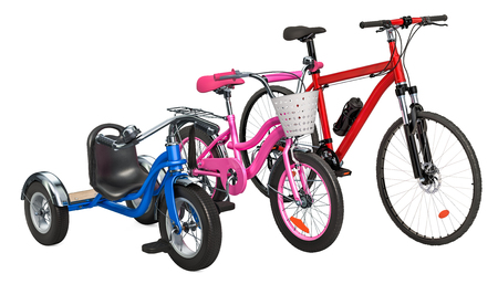 Children's tricycle, bicycle and adult bike. 3D rendering isolated on white background Standard-Bild