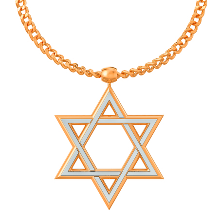 Star of David symbol on golden chain, 3D rendering isolated on white background