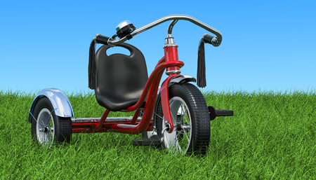 Childrens tricycle on the green grass against blue sky, 3D rendering