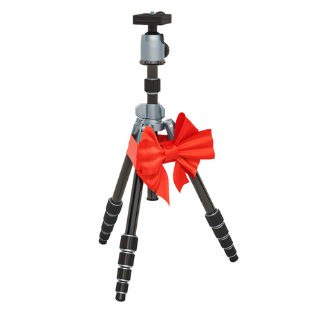 Tripod for camera or camcorder with ribbon and bow, gift concept. 3D rendering