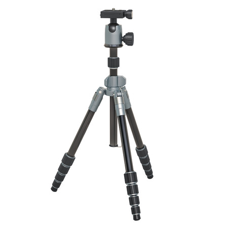 Tripod for camera or camcorder, 3D rendering isolated on white background