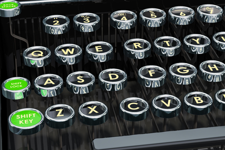 Typewriter, keys closeup. 3D rendering Stock Photo