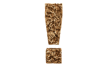 Exclamation mark from bullets, 3D rendering isolated on white background Stock Photo