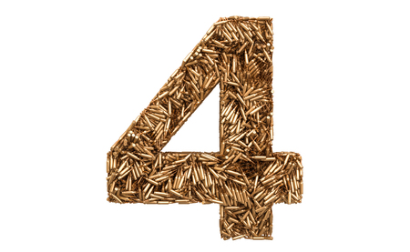 Number 4 from bullets, 3D rendering isolated on white background