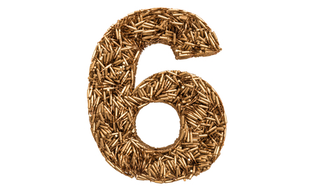 Number 6 from bullets, 3D rendering isolated on white background