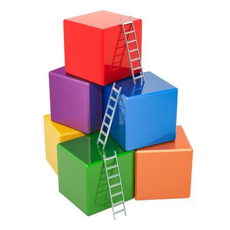 Concetto di successo aziendale. Scale con costruzione di blocchi colorati, cubi. Rendering 3D isolato su sfondo bianco Archivio Fotografico