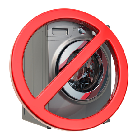 Do not wash in washing machine sign. 3D rendering isolated on white background Stock fotó