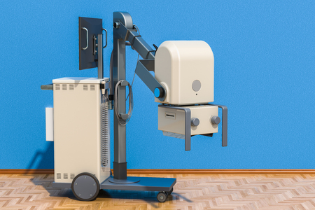 Mobile x-ray machine in room on the wooden floor, 3D rendering Stock Photo