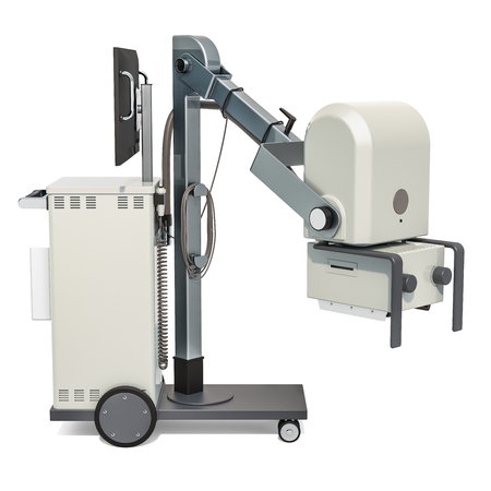 Mobile x-ray machine, 3D rendering isolated on white background