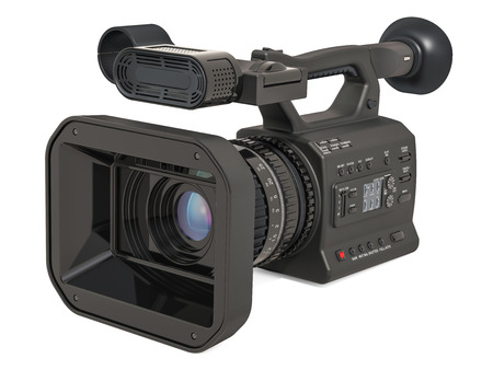 Professional video camera, television camera. 3D rendering isolated on white background Stock Photo