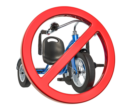 Forbidden sign with childrens tricycle. 3D rendering isolated on white background