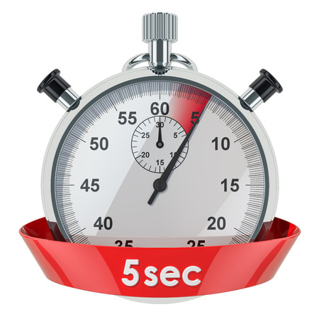 Stopwatch with 5 seconds timer. 3D rendering isolated on white background