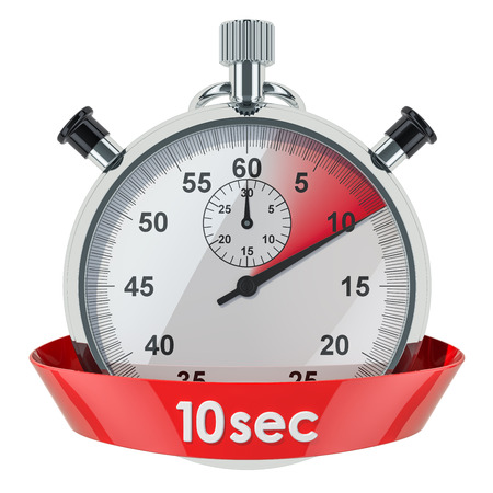 Stopwatch with 10 seconds timer. 3D rendering isolated on white background Banco de Imagens