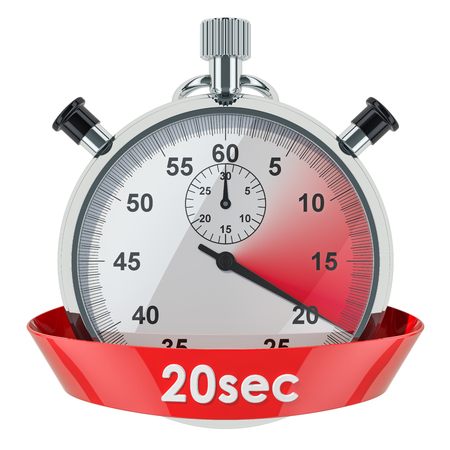 Stopwatch with 20 seconds timer. 3D rendering isolated on white background Banco de Imagens