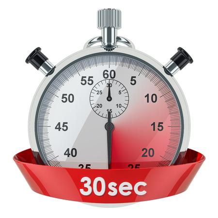 Cronómetro con temporizador de 30 segundos. Representación 3D aislada en el fondo blanco Foto de archivo