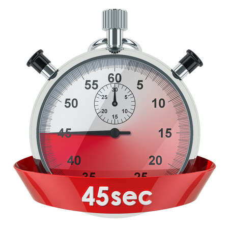 Stopwatch with 45 seconds timer. 3D rendering isolated on white background Banco de Imagens