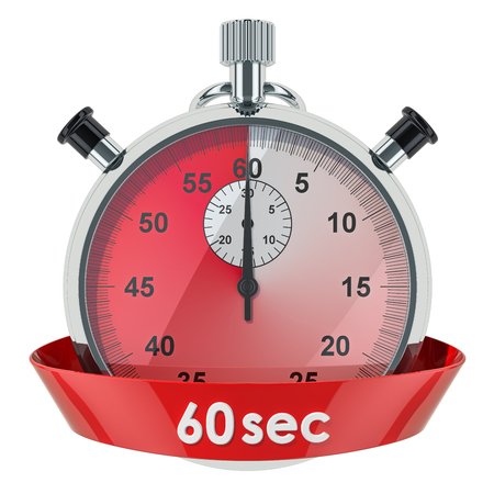Stopwatch with 60 seconds timer. 3D rendering isolated on white background