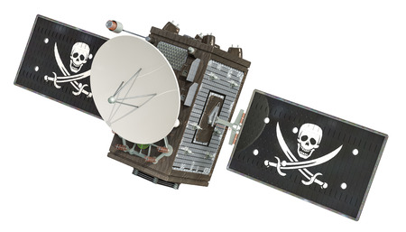Pirate satellite, 3D rendering isolated on white background Banco de Imagens