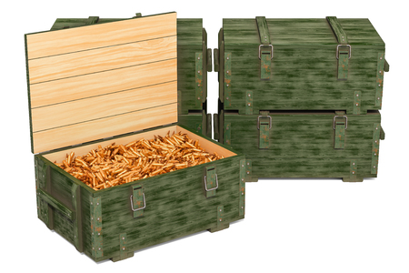 Military wooden ammunition boxes with rifle bullets, 3D rendering isolated on white background