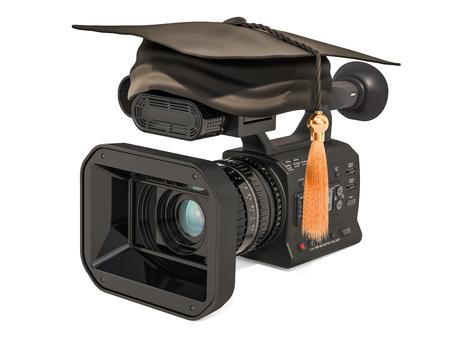Television camera with graduation cap. Television School concept, 3D rendering Banco de Imagens