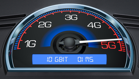 Wireless network speed evolution 5G concept, 3D rendering Stock Photo