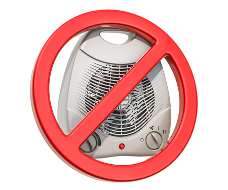 Forbidden sign with fan heater, electrical overload concept. 3D rendering isolated on white background Imagens