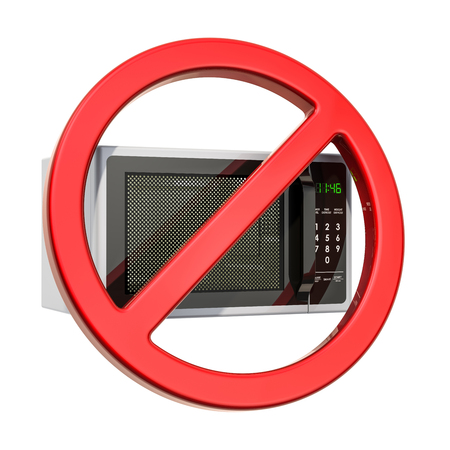 Forbidden sign with microwave oven. 3D rendering isolated on white background