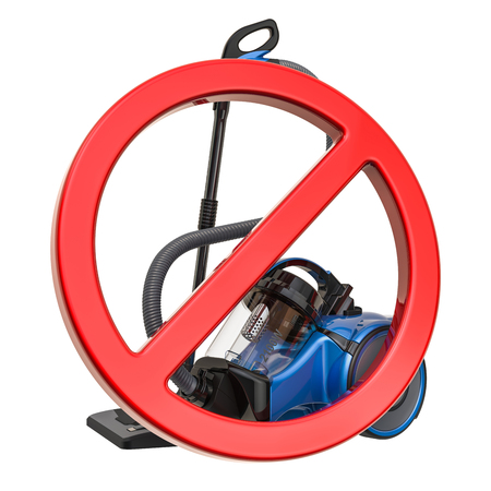 Forbidden sign with vacuum cleaner. 3D rendering isolated on white background Stock fotó