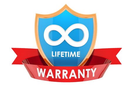 Lifetime warranty label, badge. 3D rendering isolated on white background
