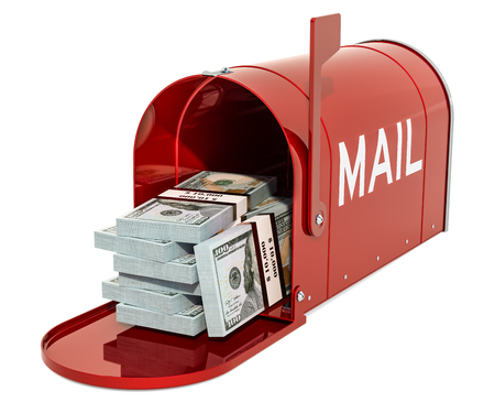 Mailbox with dollar packs. 3D rendering isolated on white background Archivio Fotografico