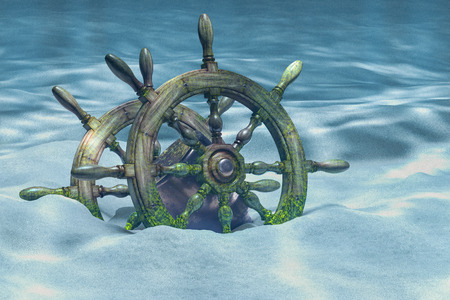 Ships wheel or boats wheel underwater. 3D rendering